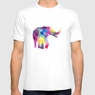 Abstract Elephant Mens Fitted Tee White SMALL