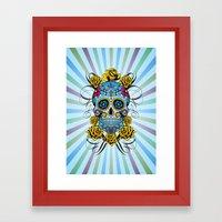 Sugar skull- Day of the dead- blue Framed Art Print