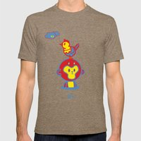 The Monkey and The Rooster  Mens Fitted Tee Tri-Coffee SMALL
