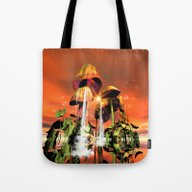 Mushrooms In The Sea Tote Bag