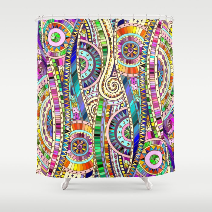Mosaic colorful background shower curtain by julia Colorful shower curtains