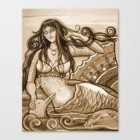 Canvas Print featuring Mermaid and Dolphin by Shantelle Knight