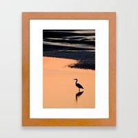 Heron in Twilight Framed Art Print