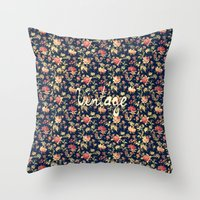 Vintage Elegant Pink and Red Roses Floral Pattern Throw Pillow