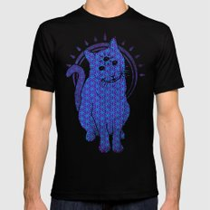 Trippy Cat: 4 SMALL Mens Fitted Tee Black