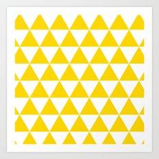 Triangles (Gold/White) Art Print