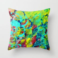 A LITTLE OF THIS - Bright Colorful Abstract Ocean Painting Circle Pattern Magenta Lime Fun Gift Throw Pillow