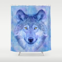 Shower Curtain - Colorful watercolor wolf - CatyArte
