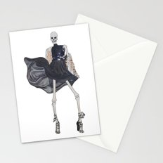 skeleton in leather & fur Stationery Cards
