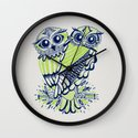 Owls – Navy & Lime Wall Clock