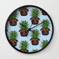 Pineapple Pug  Wall Clock
