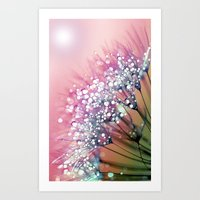 rainbow Art Prints featuring rainbow dandelion by Joke Vermeer