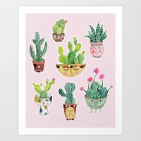 Cactus Pots Art Print