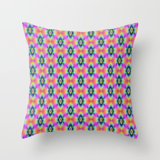 Flower in Neon tiled Throw Pillow
