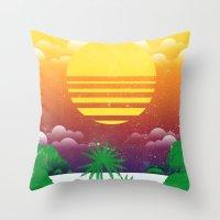 Retro Summer Throw Pillow