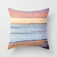 Vibrant Sunset over the Stacks at Huntington Beach, California Throw Pillow
