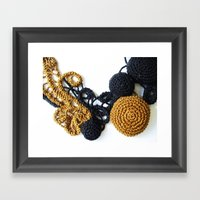 Black Coffee Romanian Point Lace Photography  Framed Art Print