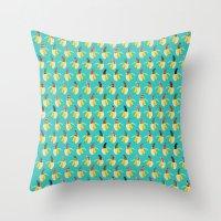 Anna Banana on blue Throw Pillow