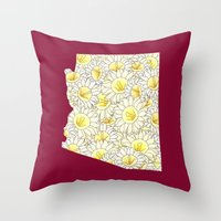 Arizona in Flowers Throw Pillow