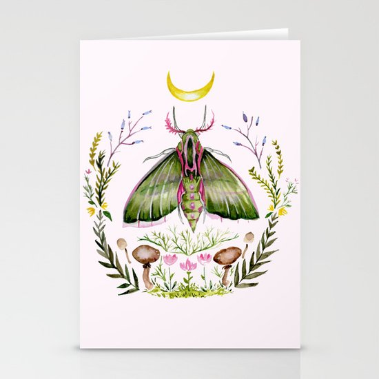 Pink Moth Stationery Card