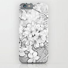 black and white sketch of spring plum flowering branch. floral photo art. iPhone 6s Slim Case