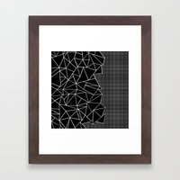 Abstract Grid Outline Wh… Framed Art Print