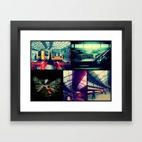 Trains Collage Framed Art Print