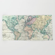 Vintage Map of The World (1801) Beach Towel