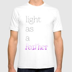 Light as a Feather White SMALL Mens Fitted Tee