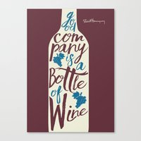 Hemingway quote on Wine and Good Company Canvas Print