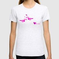 Love Birds-Pink Womens Fitted Tee Ash Grey SMALL