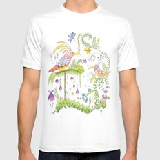 garden and birds White SMALL Mens Fitted Tee