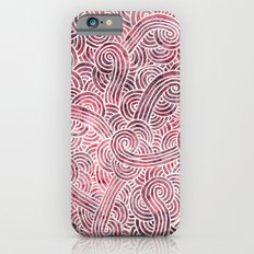 Burgundy red and white swirls doodles iPhone 6 Slim Case