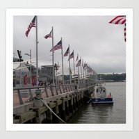 Hudson River, NY Police Boat, Intrepid Dock, New York City, USA Art Print