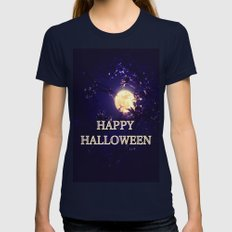 Trick Or Treat Womens Fitted Tee Navy SMALL