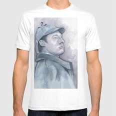 Data as Sherlock Holmes Watercolor White Mens Fitted Tee SMALL