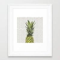 Polka Dot Pineapple Framed Art Print