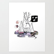 Collage Deer Art Print
