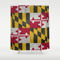 State flag of Flag of Maryland - Vintage retro style Shower Curtain
