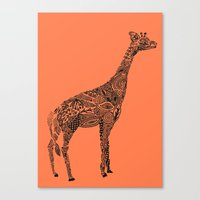 Designer Giraffe Coral Canvas Print