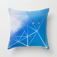 Gulls In Hexagram Flight Throw Pillow