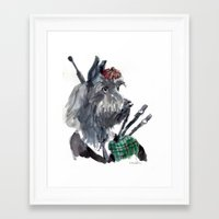 Bagpiping Scottie Framed Art Print