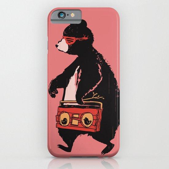 Boombox bear (salmon background) iPhone & iPod Case