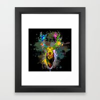 Deer PopArt Dripping Pai… Framed Art Print