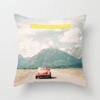 NEVER STOP EXPLORING V - vintage volkswagen bug Throw Pillow