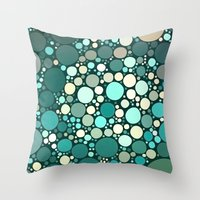 Teal Dots Throw Pillow