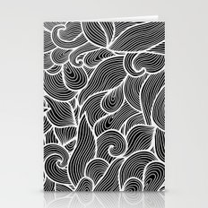Black and white waves  Stationery Cards