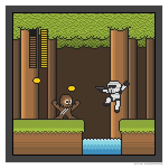 Mega Boss Battles - Chewie vs. Scout Trooper Canvas Print