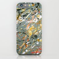 iPhone Cases featuring Jackson Pollock Interpretation Acrylics On Canvas Splash Drip Action Painting by James Peart