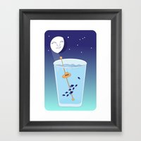Waning Waterglass Moon -… Framed Art Print